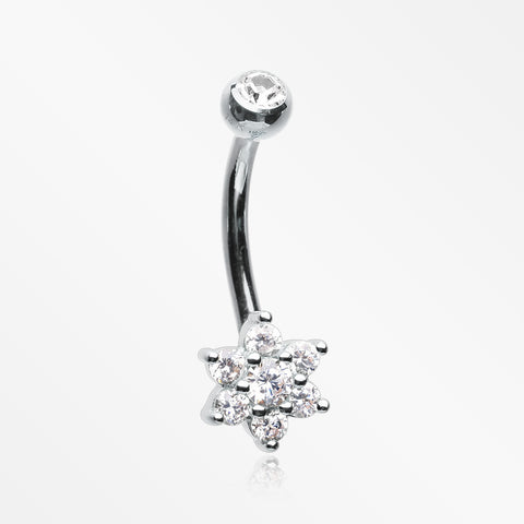 14 Karat White Gold Brilliant Sparkle Prong Set Flower Belly Button Ring-Clear