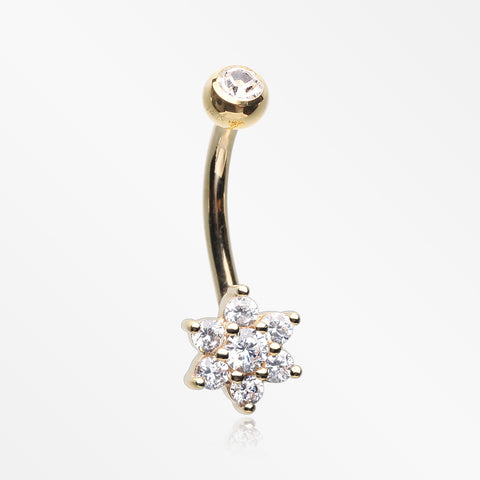14 Karat Gold Brilliant Sparkle Prong Set Flower Belly Button Ring-Clear