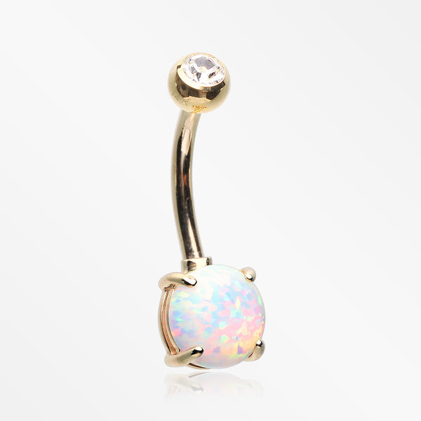 14 Karat Gold Prong Set Fire Opal Belly Button Ring-Clear/White Opal
