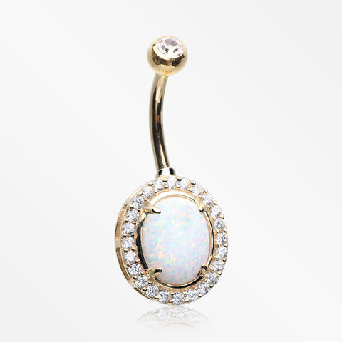14 Karat Gold Fire Opal Multi-Gem Sparkle Oval Belly Button Ring-Clear/White Opal