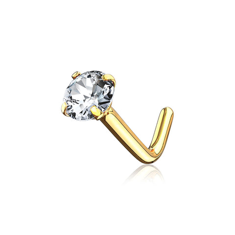 14 Karat Gold Prong Set Gem Top L-Shaped Nose Ring-Clear