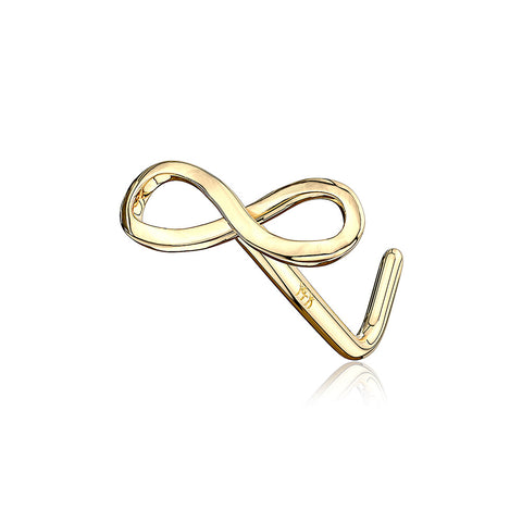 14 Karat Gold Infinity Symbol Top L-Shaped Nose Ring