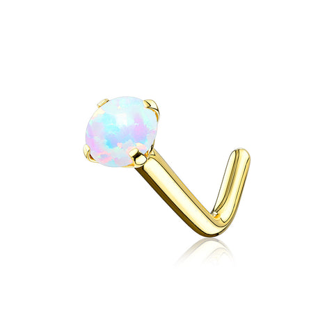 14 Karat Gold Fire Opal Prong Set Top L-Shaped Nose Ring-White Opal