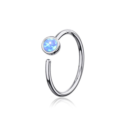 14 Karat White Gold Bezel Set Fire Opal Bendable Hoop Ring-Blue Opal