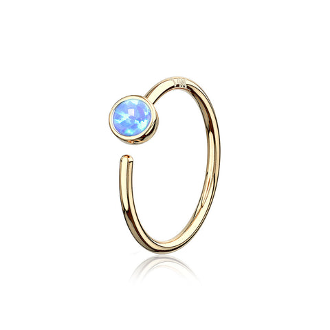 14 Karat Gold Bezel Set Fire Opal Bendable Hoop Ring-Blue Opal