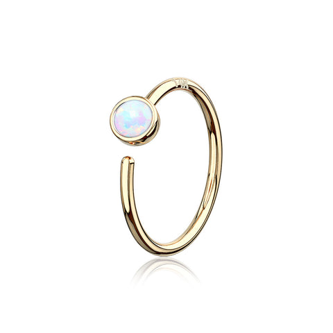 14 Karat Gold Bezel Set Fire Opal Bendable Hoop Ring-White Opal