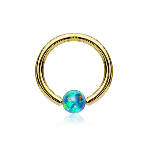 14 Karat Gold Fire Opal Ball CBR Style Bendable Hoop Ring-Green Opal
