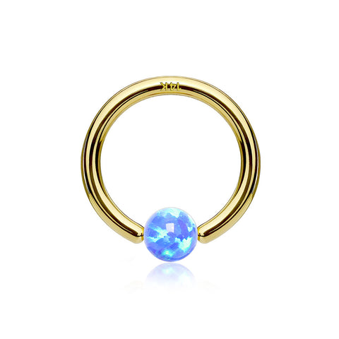 14 Karat Gold Fire Opal Ball CBR Style Bendable Hoop Ring-Blue Opal