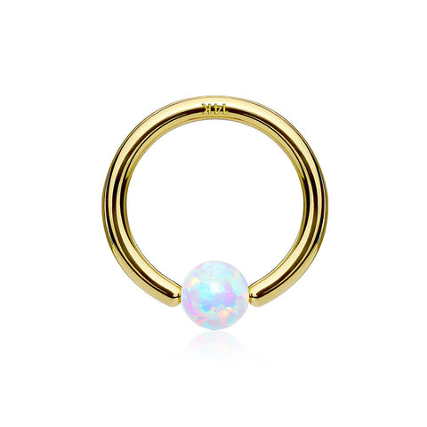 14 Karat Gold Fire Opal Ball CBR Style Bendable Hoop Ring-White Opal