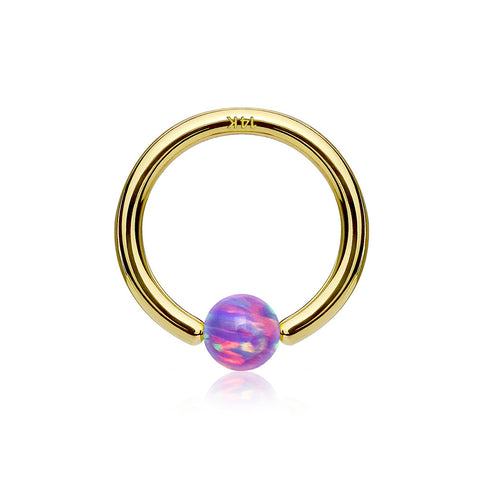 14 Karat Gold Fire Opal Ball CBR Style Bendable Hoop Ring-Purple Opal