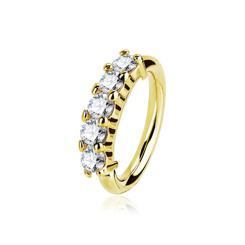 14 Karat Gold Multi-Gem Crown Prong Set Bendable Hoop Ring-Clear