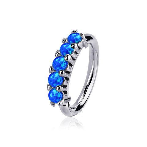14 Karat White Gold Multi Fire Opal Crown Prong Set Bendable Hoop Ring-Blue Opal