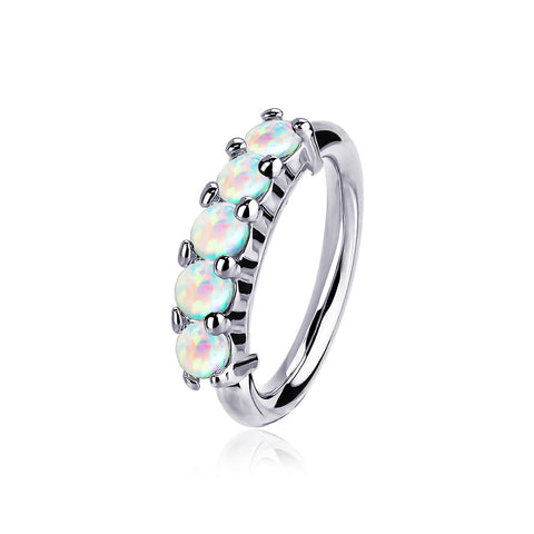 14 Karat White Gold Multi Fire Opal Crown Prong Set Bendable Hoop Ring-White Opal