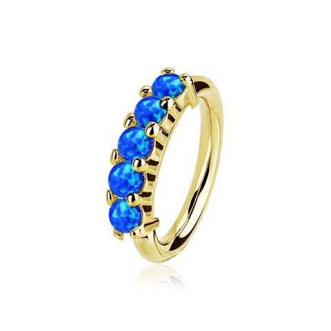 14 Karat Gold Multi Fire Opal Crown Prong Set Bendable Hoop Ring-Blue Opal