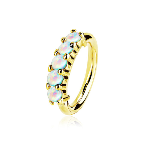 14 Karat Gold Multi Fire Opal Crown Prong Set Bendable Hoop Ring-White Opal