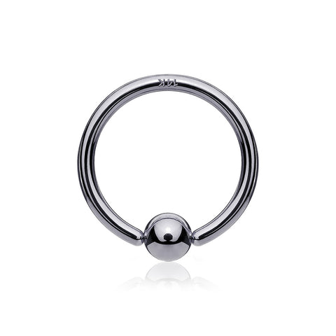 14 Karat White Gold Ball End CBR Style Bendable Hoop Ring