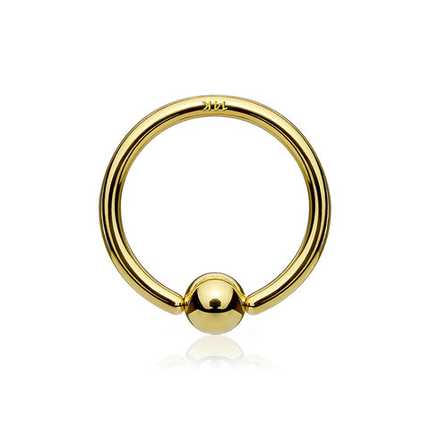 14 Karat Gold Ball End CBR Style Bendable Hoop Ring