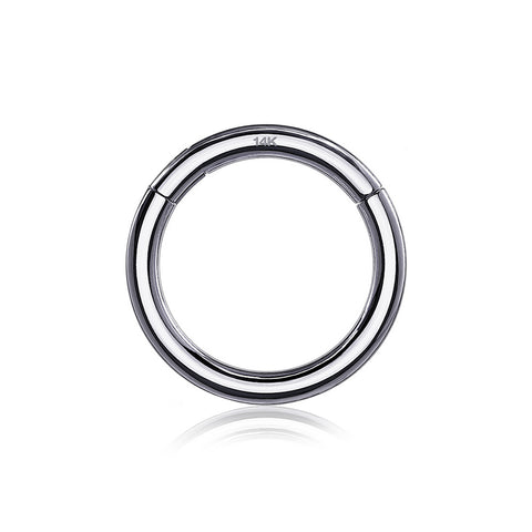 14 Karat White Gold Seamless Clicker Hoop Ring