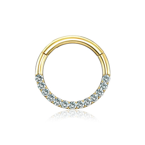 14 Karat Gold Brilliant Sparkle Gems Front Lined Clicker Hoop Ring-Clear