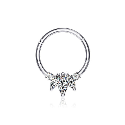 14 Karat White Gold Marquise Floral Sparkle Clicker Hoop Ring-Clear
