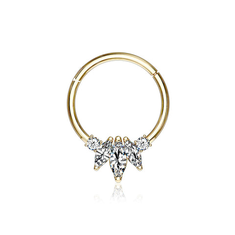 14 Karat Gold Marquise Floral Sparkle Clicker Hoop Ring-Clear