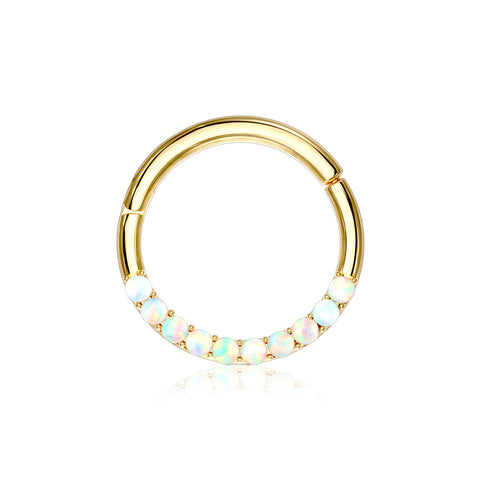 14 Karat Gold Fire Opal Sparkle Front Lined Clicker Hoop Ring-White Opal