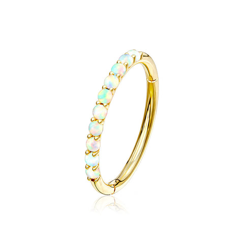 14 Karat Gold Fire Opal Sparkle Lined Clicker Hoop Ring-White Opal