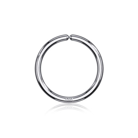 14 Karat White Gold Basic Bendable Hoop Ring