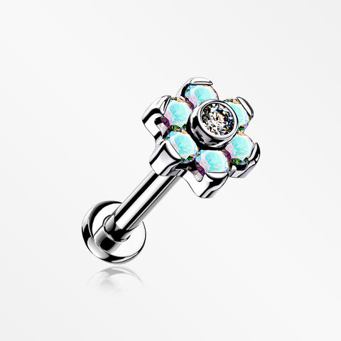 Implant Grade Titanium Brilliant Sparkle Flower Threadless Top Push-In Labret-Aurora Borealis/Clear
