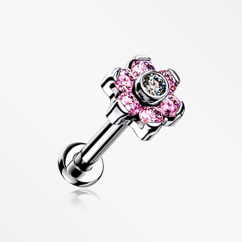 Implant Grade Titanium Brilliant Sparkle Flower Threadless Top Push-In Labret-Pink/Clear