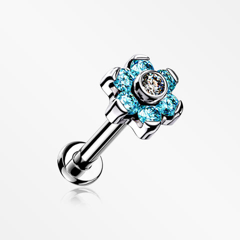Implant Grade Titanium Brilliant Sparkle Flower Threadless Top Push-In Labret-Aqua/Clear
