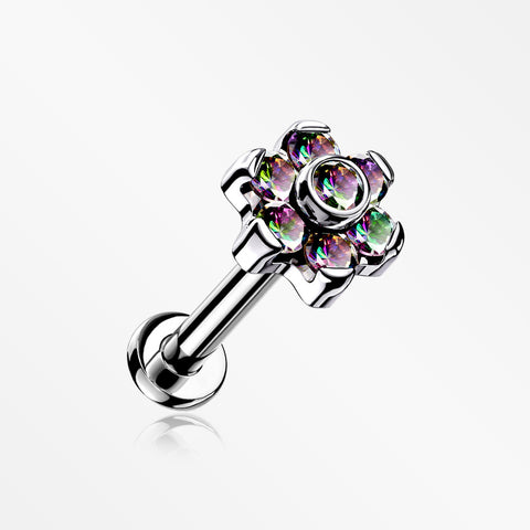 Implant Grade Titanium Brilliant Sparkle Flower Threadless Top Push-In Labret-Vitrail Medium