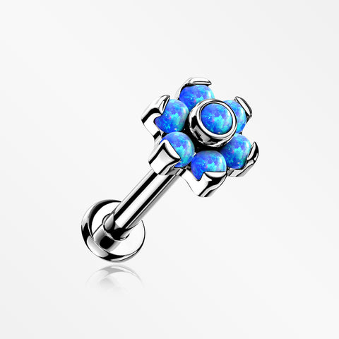 Implant Grade Titanium Brilliant Fire Opal Flower Threadless Top Push-In Labret-Blue Opal