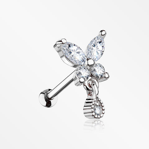 Dainty Sparkle Butterfly Dangle Cartilage Tragus Barbell Earring-Clear