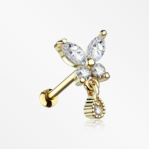 Golden Dainty Sparkle Butterfly Dangle Cartilage Tragus Barbell Earring-Clear