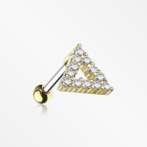 Golden Karma Triangle Sparkle Cartilage Tragus Barbell Earring-Clear
