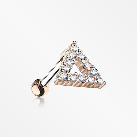 Rose Gold Karma Triangle Sparkle Cartilage Tragus Barbell Earring-Clear