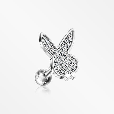 Brilliant Sparkle Playboy Bunny Cartilage Tragus Barbell Earring-Clear