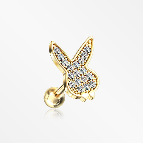 Golden Brilliant Sparkle Playboy Bunny Cartilage Tragus Barbell Earring-Clear