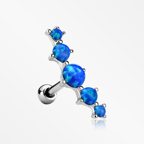 Fire Opal Journey Curve Prong Set Cartilage Tragus Barbell Earring-Blue Opal