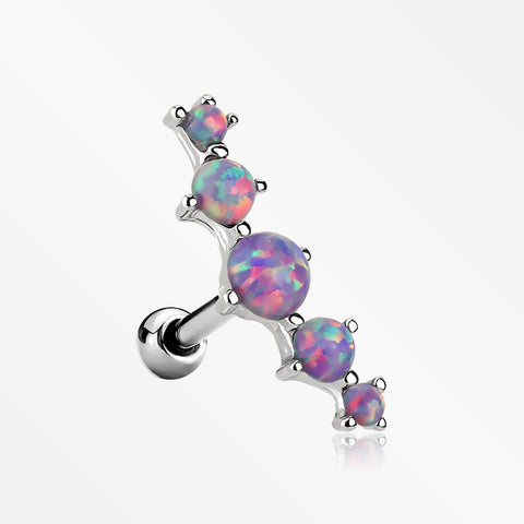 Fire Opal Journey Curve Prong Set Cartilage Tragus Barbell Earring-Purple Opal