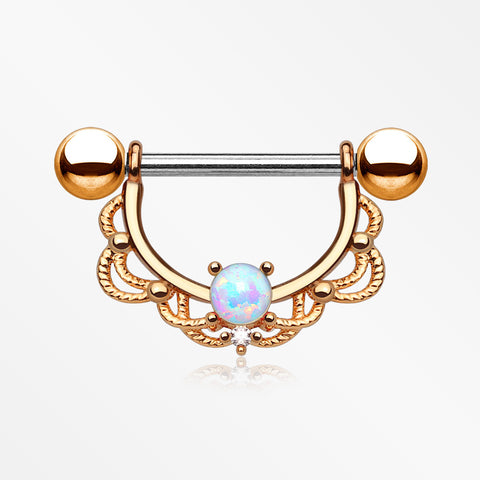 A Pair of Rose Gold Turan Fire Opal Sparkle Dangle Nipple Shield-White Opal
