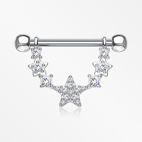 A Pair of Sparkly Glam Stars Dangle Nipple Shield-Clear