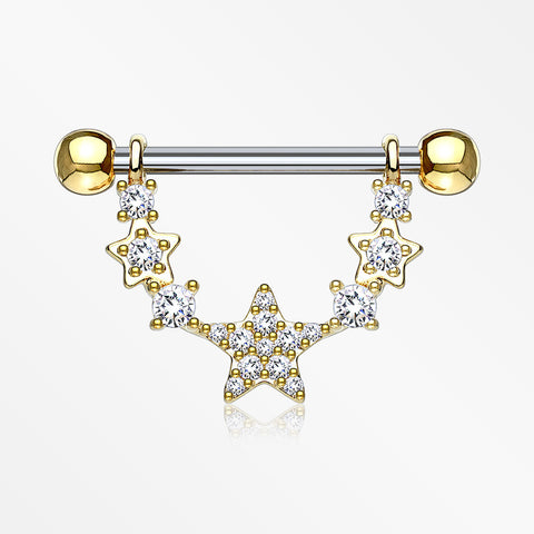 A Pair of Golden Sparkly Glam Stars Dangle Nipple Shield-Clear