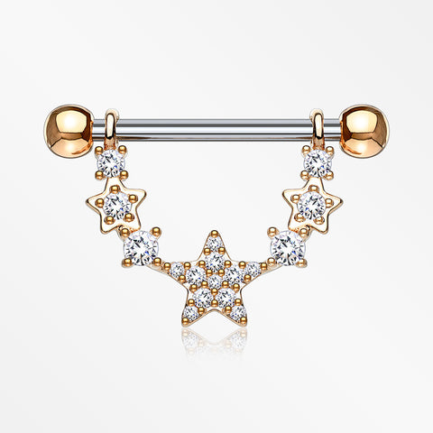 A Pair of Rose Gold Sparkly Glam Stars Dangle Nipple Shield-Clear