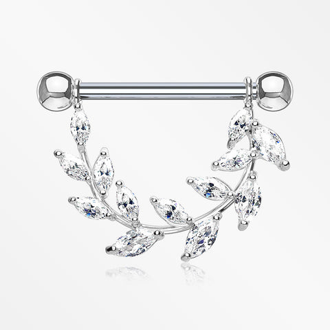 A Pair of Marquise Sparkle Allure Leaves Dangle Nipple Shield-Clear
