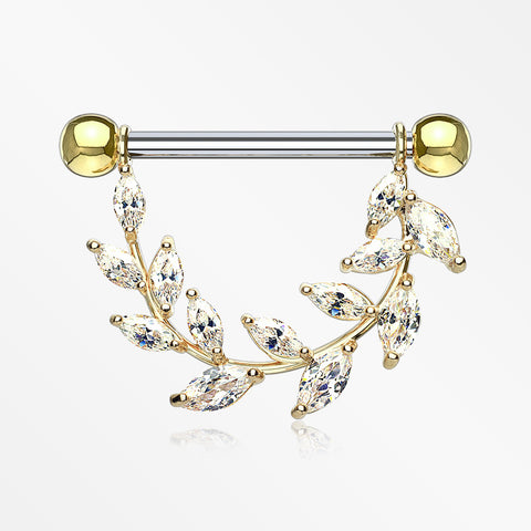 A Pair of Golden Marquise Sparkle Allure Leaves Dangle Nipple Shield-Clear