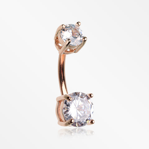 Rose Gold Classic Sparkle Gem Prong Set Internally Threaded Belly Button Ring-Clear