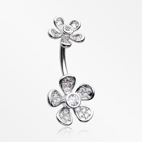 Wild Flower Sparkle Internally Threaded Belly Button Ring-Clear