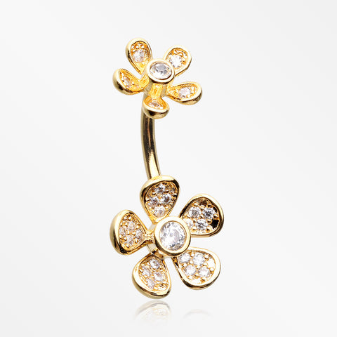 Golden Wild Flower Sparkle Internally Threaded Belly Button Ring-Clear